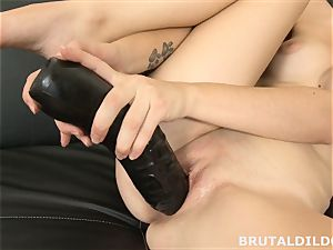 inexperienced dark-haired Ennie yells and pummels meaty ebony fuck stick