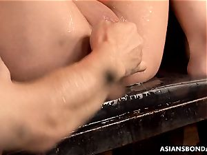 chinese deep-throater got her massive slit well-lubed and played