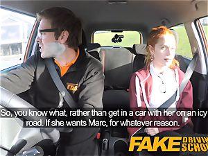 fake Driving college ultra-cute ginger-haired Ella Hughes screws