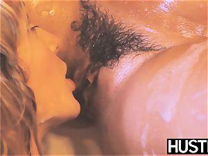 busty dyke Keisha Gray fingered insanely in girl/girl shower