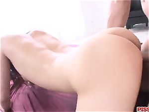 Konoha gets two men to stimulate her fur covered love fuck holes