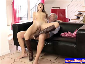 dark haired unexperienced small honey penetrated