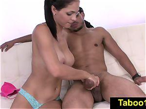 FetishNetwork Jasmine Caro sensuous hand job for stepbro