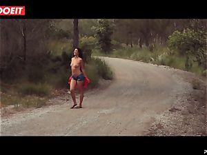 LETSDOEIT - horny brunette Caught Running in the woods