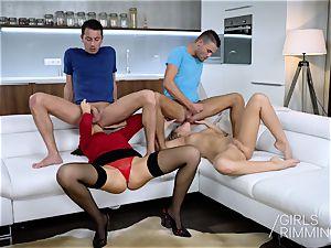 wild four-way ass licking with Tina Kay