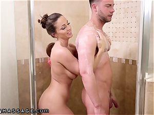 NuruMassage Abigail Mac pleads Step-Bro to Get in shower