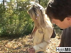 red-hot blonde cougar has a three way at the park