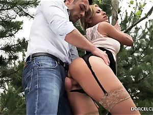 lady college girls witness as their tutor gets bum-fucked in the forest