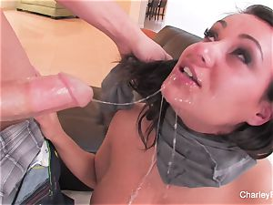 black-haired ultra-cutie Charley gets a rough plumbing