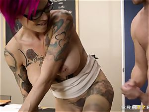 Oh my God! chesty lecturer Anna Bell Peaks entices me during lesson