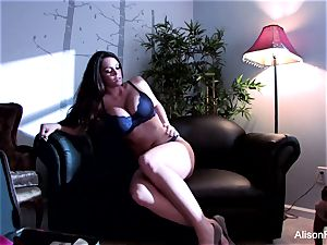 Alison peels off off her lingerie to have fun with herself