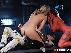 Monster man rod craving space hotties Athena Palomino and Carly Rae