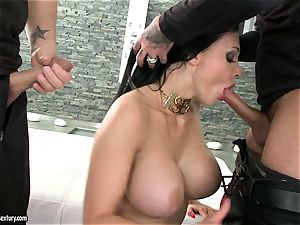 sultry biotch Aletta Ocean gets two rock-hard chubs deep-throating it torrid one at a time