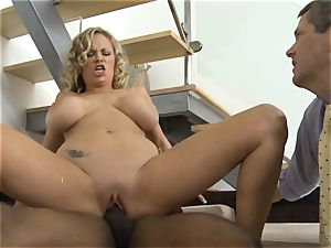 Frustrated wife Katie Kox gets pounded on a table in front of her guy