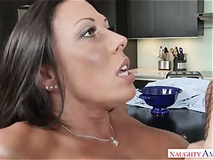 My brother's crazy wife Rachel Starr saddles my beef whistle