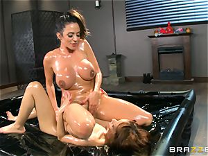 Oily rubdown activity with Ariella Ferrera and Adessa Winters