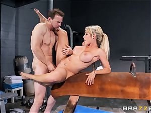 Capri Cavanni completes her exercise with some hefty rod