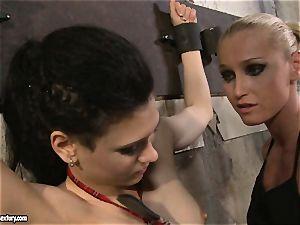 Kathia Nobili tormenting a mischievous college gal