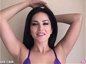 SunnyLeone Sunny Leone in handsome purple underwear