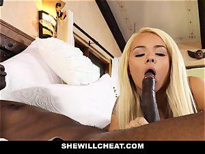 SheWillCheat cuckold wifey absorbs black lollipop