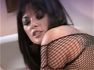 Kaylani Lei spreads her edible slits and enjoys the firm pillar in her