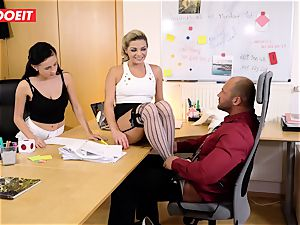 Stepdaughter joins dad in banging the office assistant