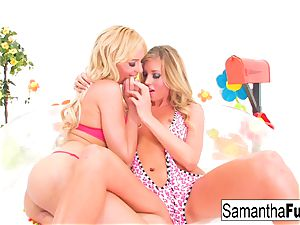 Samantha Saint and Victoria milky poke