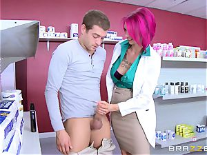 first-timer fellow smashes beautiful big-chested nurse Anna Bell Peaks in the pharmacy