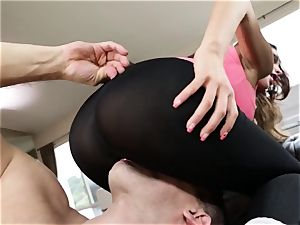 huge arse latina August Ames gets her swarthy gash pounding thru stretch pants