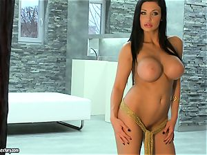 Aletta Ocean super-hot ginormous globes chick bare at the stairs
