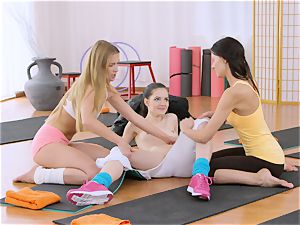 fitness rooms steaming yoga tutors rope on drill tiny nubile