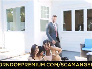 SCAM ANGELS - super-steamy Melissa Moore screwed in insane fourway