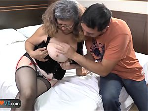AgedLovE Latina chubby grandmother poking twink