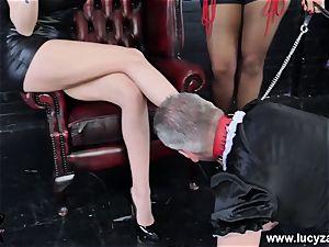 dominatrix Lucy Zara Lilly Roma lash humiliate sissy maid