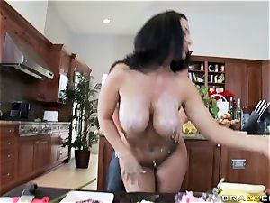 Culinary showcase presenter Jayden Jaymes gets her fuckbox wedged with hard shafts
