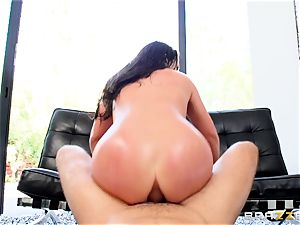 ballsack deep in the backside of naughty Angela milky