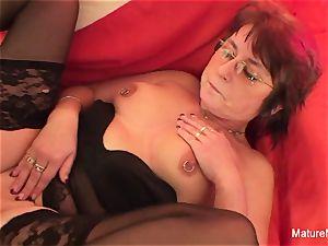 Punky pierced grannie enjoys to gargle and bang