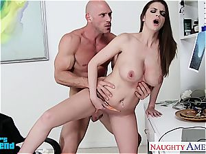 big-chested brunette Brooklyn chase gets smashed