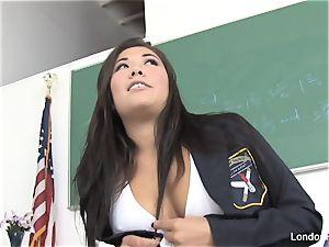 schoolgirl London gets poked on the teacher's desk