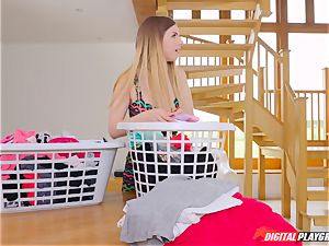 gash groping nice Eva Lovia and Stella Cox messing in the laundry