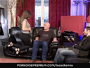 LA COCHONNE - hardcore double penetration three way lovemaking for big-boobed stunner