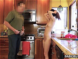 little handsome step-daughter Avery makes parent naughty
