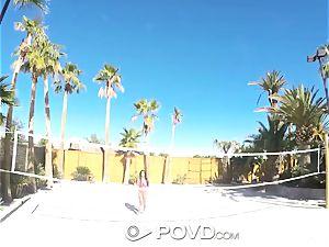 POVD Backyard badminton anal fuck with Anissa Kate