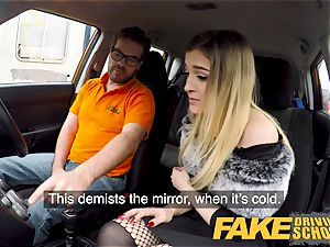 fake Driving college diminutive learner with smallish breasts