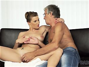DADDY4K. damsel left with throatful of spunk after being boned by dad