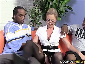 scorching cougar Jenna Covelli takes two BBC's
