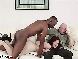 pink cigar depraved Jessica cuckolds her hubby with a big black cock