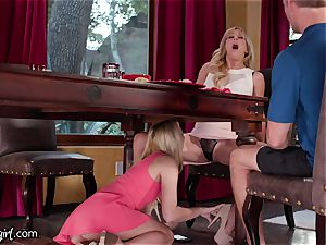 daughter-in-law controls Mommy's vibrating underpants at Dinner