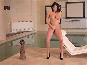 huge-chested French milf fingers Her wet muff