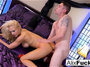 Alix Lynx milks Brad's wood with her slit and jaws